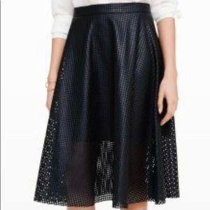 Club Monaco Black Faux Leather Midi Skirt